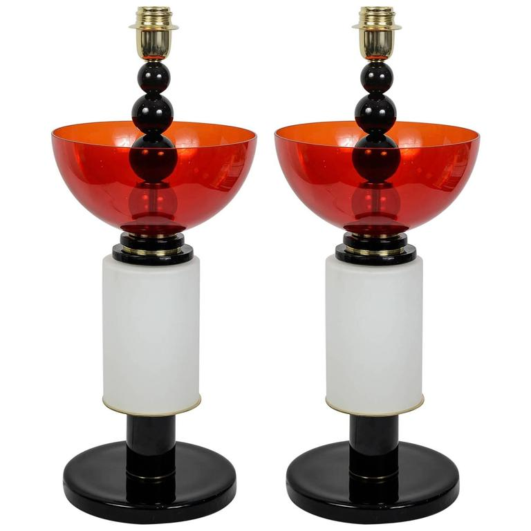 Pair of Italian Table Lamps in Handblown Murano Glass 1