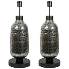 Gorgeous Pair of Oblong Table Lamps in Silvered Bubble Glass