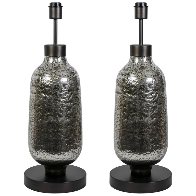 Gorgeous Pair of Oblong Table Lamps in Silvered Bubble Glass 1