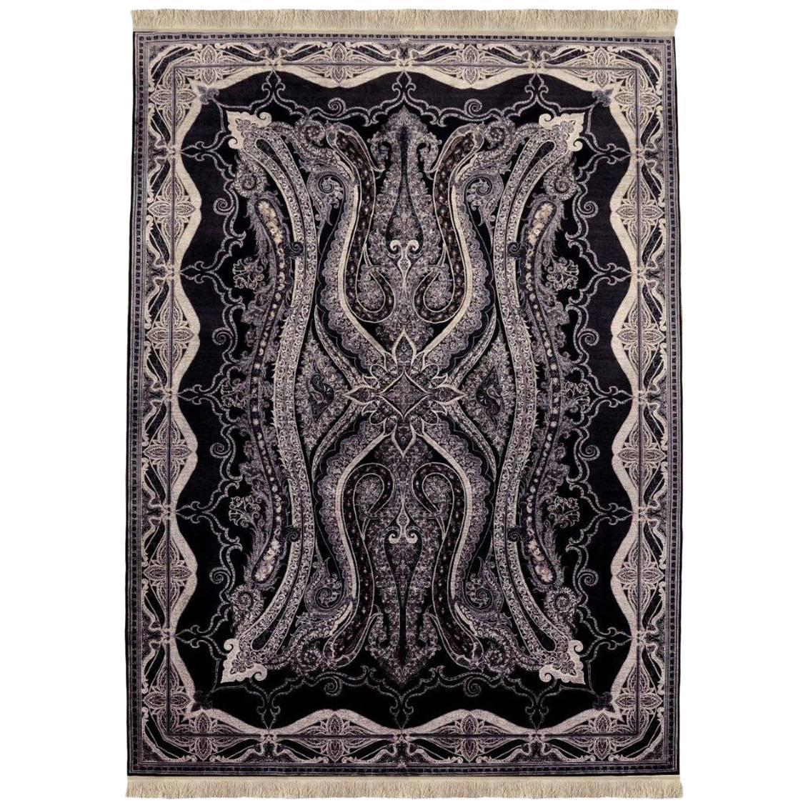 Unique King S Crest Solid Silk Hand Made Turkish Rug By Cinar For At 1stdibs