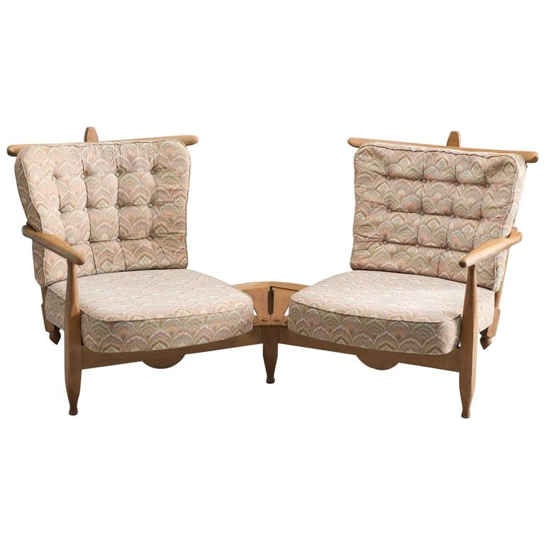 Guillerme & Chambron Solid Oak Lounge Set with Connecting Table
