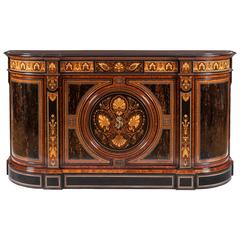 English Aesthetic Movement Side Cabinet with Extensive Marquetry