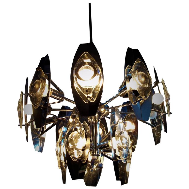Mid-Century Modern, Space Age Sciolari Chrome and Glass Lens Chandelier, 1960s