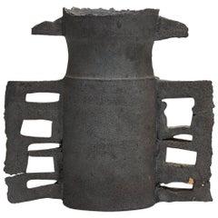 Colin Pearson British Studio Pottery Matte Black Handled Vessel