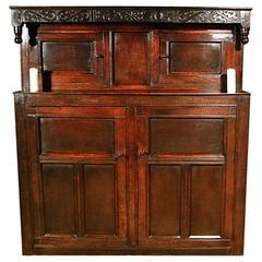 Original Queen Anne Oak Court Cupboard, Dated 1705