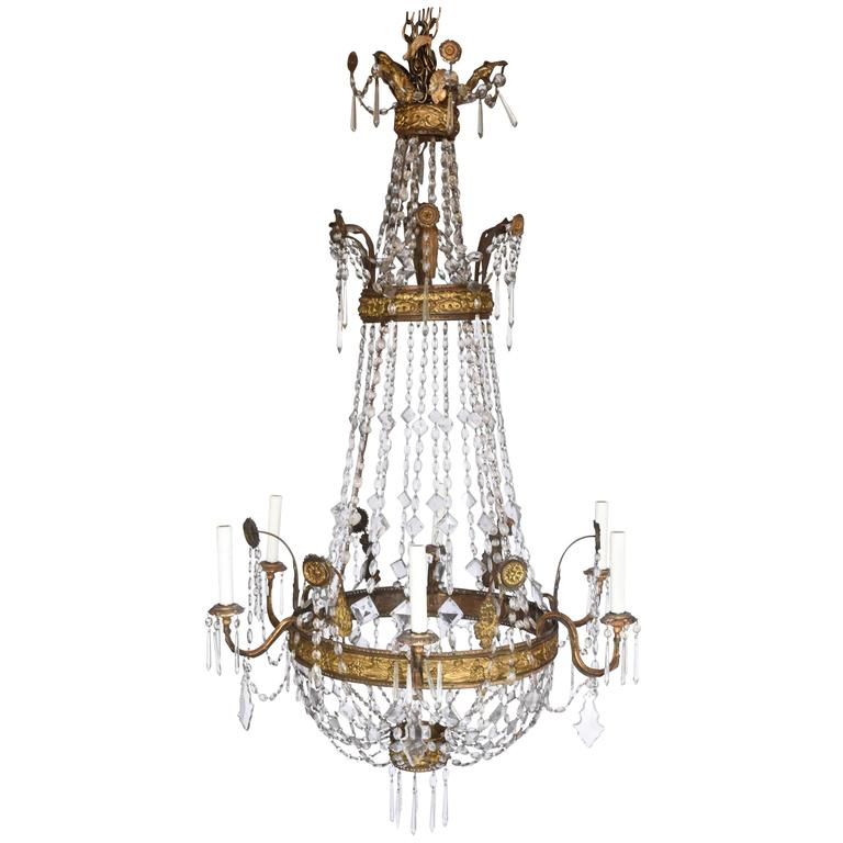 18th Century Italian Repousse' Metal Crystal Chandelier with Six Arms