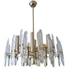 Chrome, Brass and Glass Italian Sciolari Chandelier