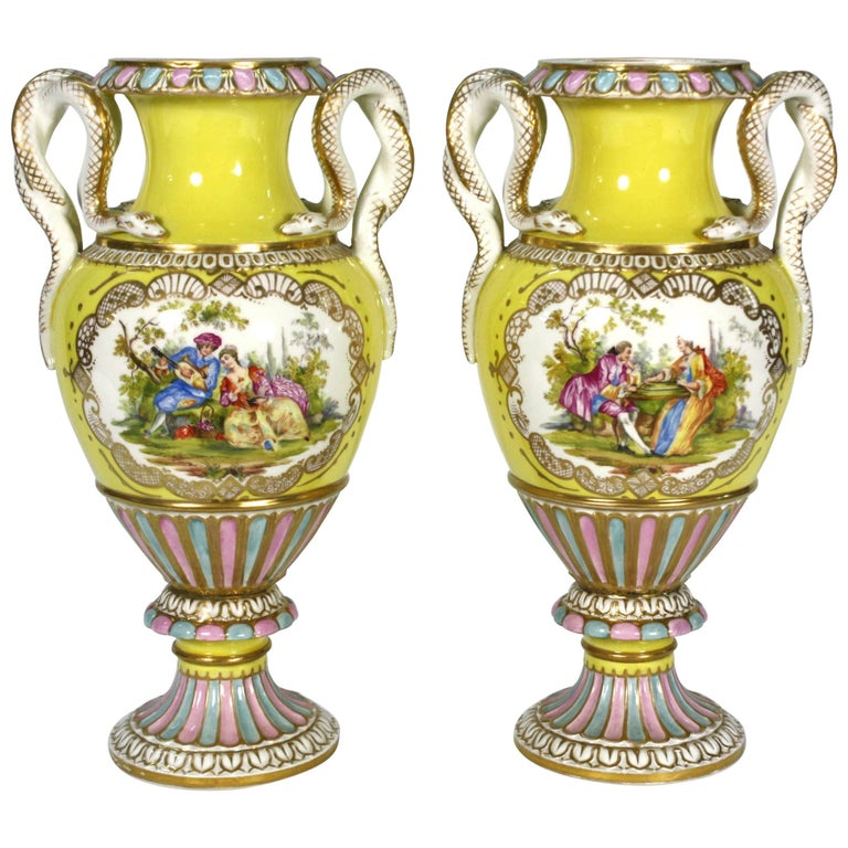 Pair of Meissen Porcelain Vases with Snake Handles For Sale