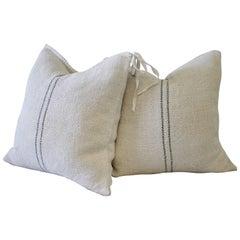 Vintage European Grainsack Pillows with Black Stripes