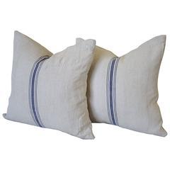 Vintage Blue Stripe European Grain Sack Pillows
