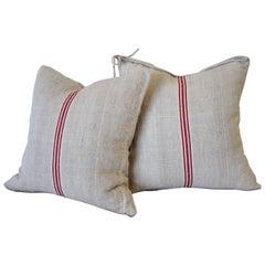 Vintage Red Stripe European Grainsack Pillows Pair