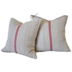 Vintage Red Stripe European Grainsack Pillows Pair