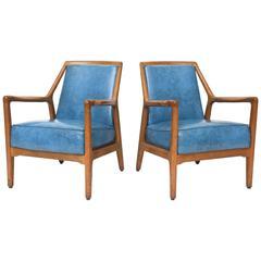 Pair of Italian Modern Walnut Armchairs, Carlo di Carli