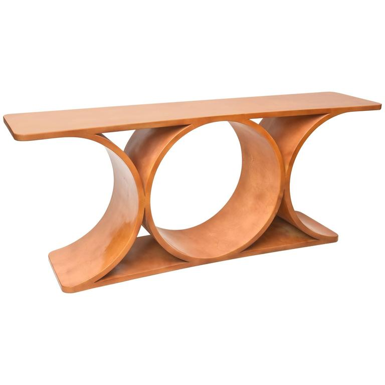 Karl Springer Goatskin Quot Jmf Quot Double Sided Console Table At