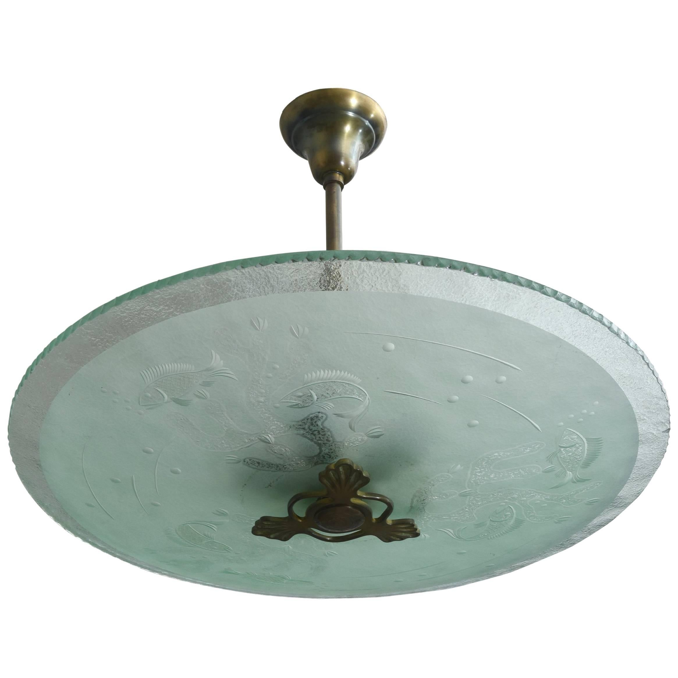 Swedish Modern Frosted and Etched Glass Chandelier, Orrefors