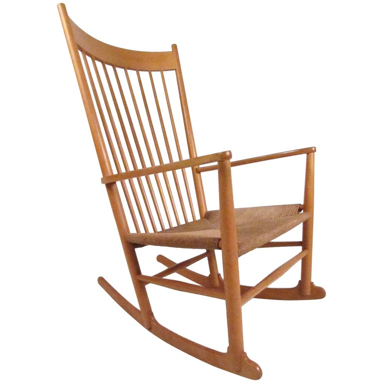 Hans Wegner J.16 Rocking Chair with Rush Seat For Sale