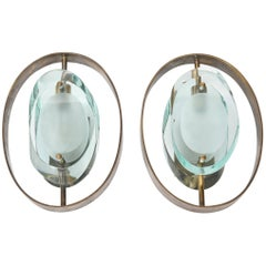 Pair of Italian Modern Brass and Glass Wall Lights, Model 2240