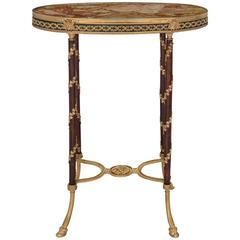 French 19th Century Louis XVI St. Mahogany, Ormolu and Marble Side Table