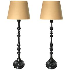 Pair of Anglo Indian Solid Ebony Floor Lamps