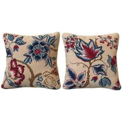 1960s Tree of Life Motif Floral Needlepoint Pillow, Pair