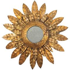 French 1930s Gilt Iron Sunburst Mirror Miniature
