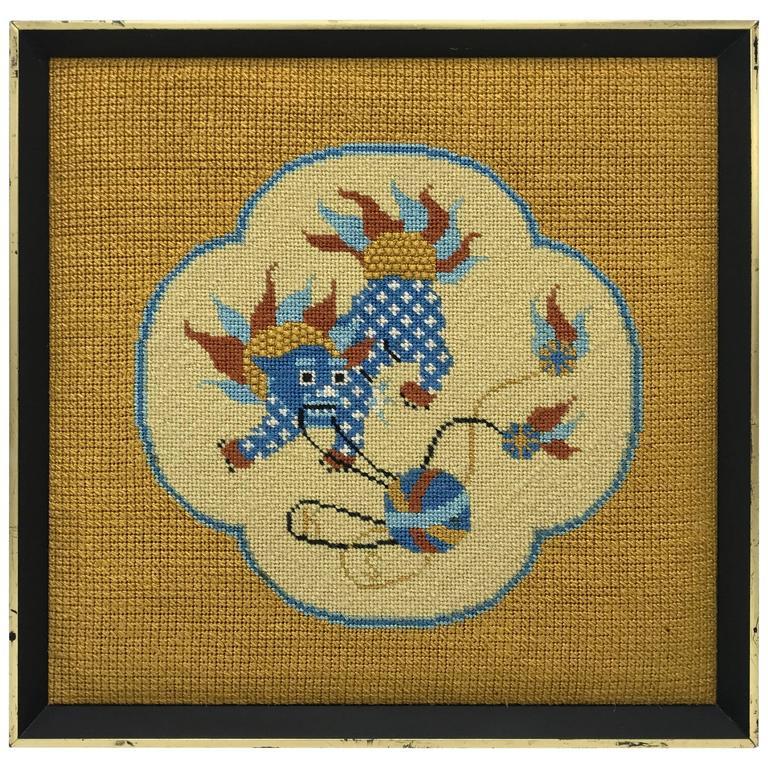 1960s Blue Foo Dog Needlepoint, Framed
