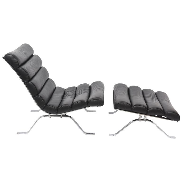 Arne Norell Chrome and Leather Chair and Ottoman, Sweden