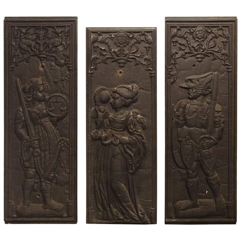 Rare Antique Cast Iron French Fireplace Plaques, Justice, Prudence and Courage For Sale