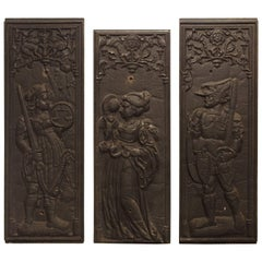 Rare Antique Cast Iron French Fireplace Plaques, Justice, Prudence and Courage