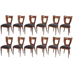 Rare Set of 14 Italian Modern Mahogany Dining Chairs, Osvaldo Borsani