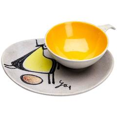 Modernist Painted and Signed Cup and Saucer, circa 1960