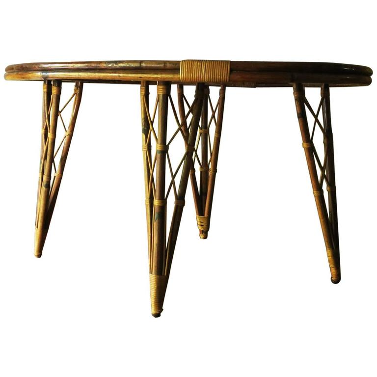 Unusual vintage bamboo leaf shaped side or breakfast table for Unusual tables for sale
