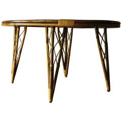 Unusual Vintage Bamboo Leaf-Shaped Side or Breakfast Table