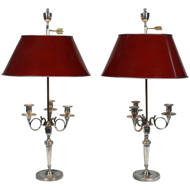 Pair of Silvered-Bronze Hunting Horn Candelabra Lamps For Sale