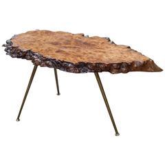 Carl Auböck Nakachima Style Burl Wood Tripod Side Table