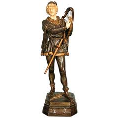 Bronze and Ivory Figure by Jean Didier Debut Titled 'Barde', circa 1870