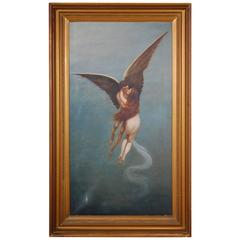 Late 19th Century Oil Painting on Canvas Angel Ascending to Heaven