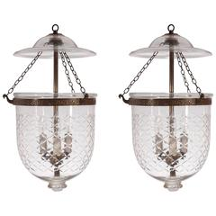Pair of 19th Century Bell Jar Hall Lanterns with Diamond Etching
