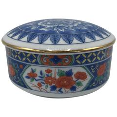1980s Tiffany & Co. Blue and White Chinoiserie Lidded Bowl with Gold Border