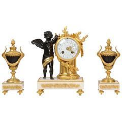 Antique French Bronze, Ormolu and Marble Boudoir Clock Set, circa 1880