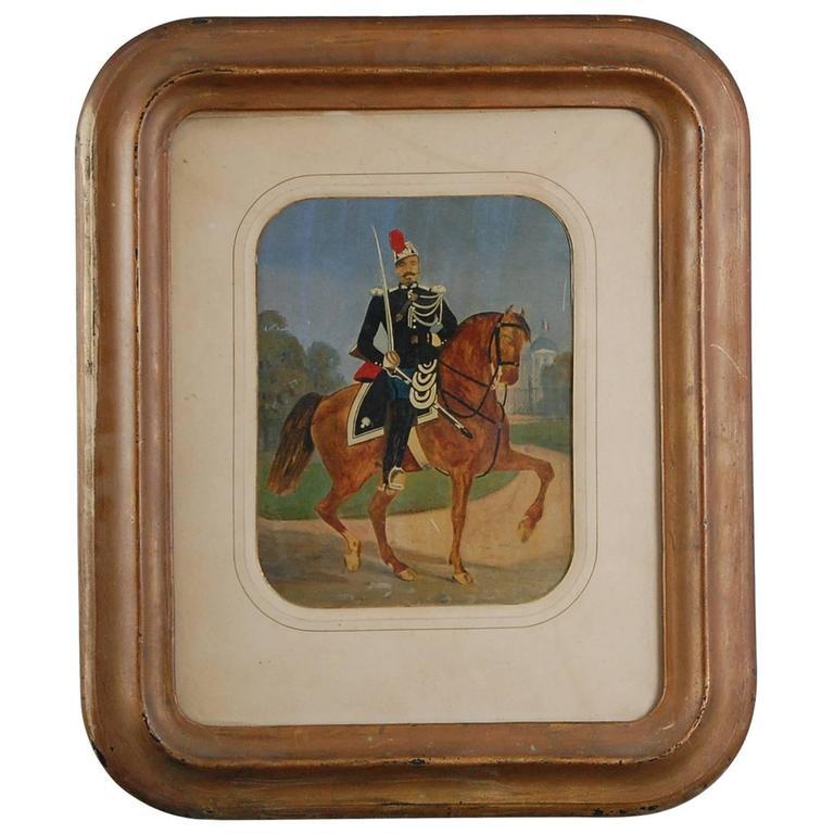 19th Century Naive French Cavalryman Painting