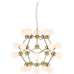 Lina 20-Light SM Chandelier, Geometric Dodecahedron in Polished Brass