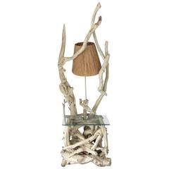 Large Mid-Century Sculptural Driftwood Floor/Table Lamp Shabby Chic Beach