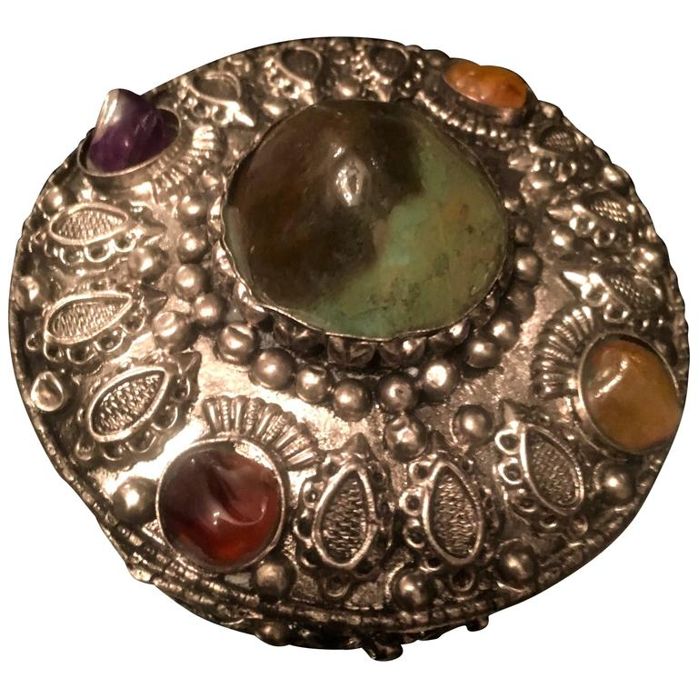 Round Silver Afghani Box with Semi-Precious Stones