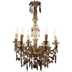 Charming French Crystal Six Branch Brass Chandelier
