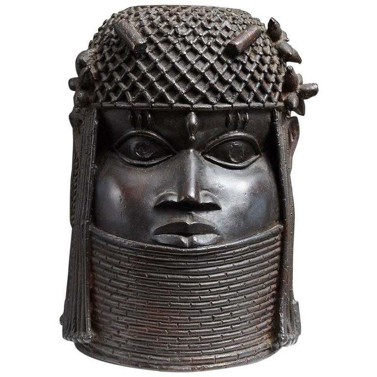 Benin Bronze Memorial Head Sculpture 1