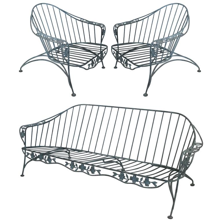 set of faux bois wrought iron lounge seating pair of chairs and sofa for sale at 1stdibs. Black Bedroom Furniture Sets. Home Design Ideas