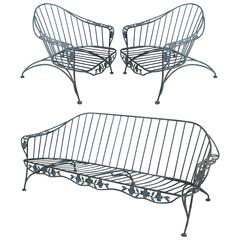 Set of Faux Bois Wrought Iron Lounge Seating, Pair of Chairs and Sofa