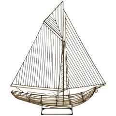 1980s C. Jere Brass Sailboat Sculpture