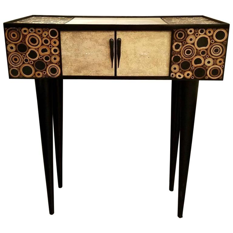 R & Y Augousti Black and Ivory Shagreen and Bamboo Console